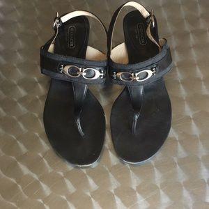 Coach black sandals w/CC Logo on  leather strap